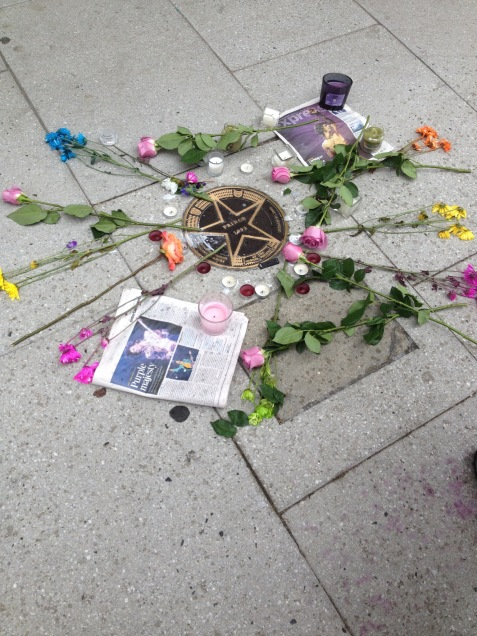 Tributes left at Prince's star outside a Washington theatre